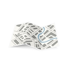Folding map of the city with shadow on white vector image
