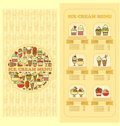 ice cream menu card set of cute desserts icons vector image