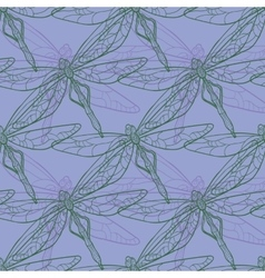 Seamless pattern with dragonfly on purple vector image vector image