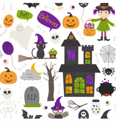 seamless pattern with halloween elements on white vector image