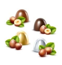 Set of Black Milk Chocolate Candies with Hazelnuts vector image