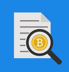 analysis and reporting bitcoin icon in flat vector image