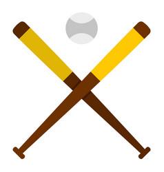 baseball bats and baseball icon isolated vector image