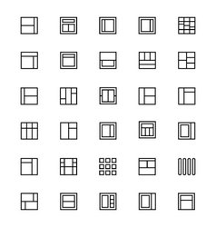 Layout line icons 4 vector