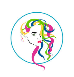 lovely female face with colorful long hairstyle vector image vector image