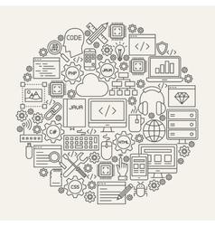 Programming Line Icons Circle vector image