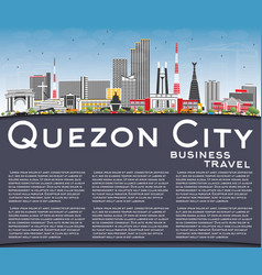 quezon city philippines skyline with gray vector image vector image
