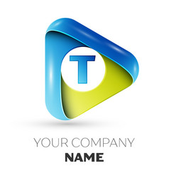 realistic letter t logo colorful triangle vector image