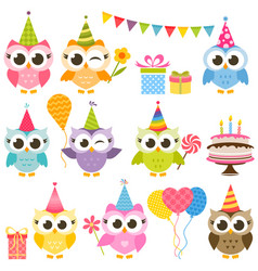 set of cute colorful owls on birthday party vector image vector image