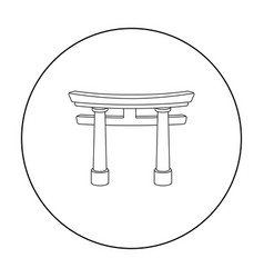 torii icon in outline style isolated on white vector image