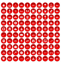 100 shipping icons set red vector