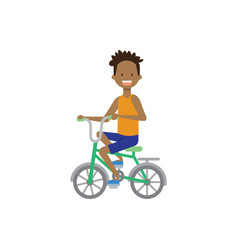 African boy kid riding a bicycle concept cycle vector