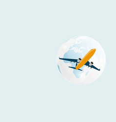airplane and globe background eps10 vector image