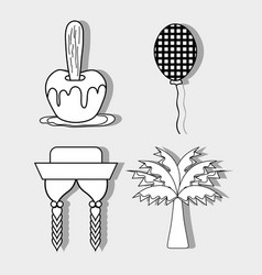 Apple balloon hat braids and palm festa junina vector