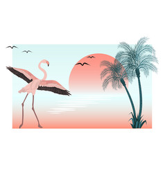 at sunset flamingo on lake scene vector image