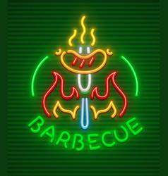 barbecue party neon icon vector image