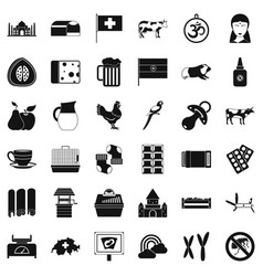 Big cow icons set simple style vector