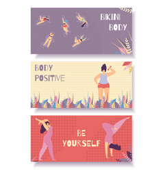 bikini body positive flat banner set floral design vector image