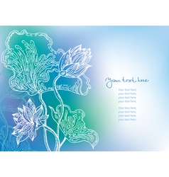 blue background with lily flowers vector image