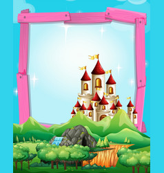 Border template with castle in the woods vector