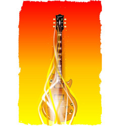 burning solid electric guitar vector image