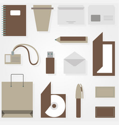 business accessories in flat style on gray vector image