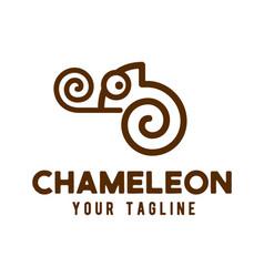 chameleon logo line art design vector image