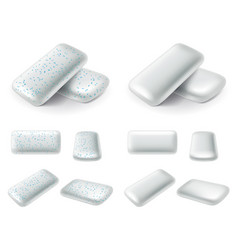 Chewing gum pads 3d realistic set vector