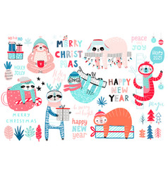 christmas sloths set hand drawn style vector image