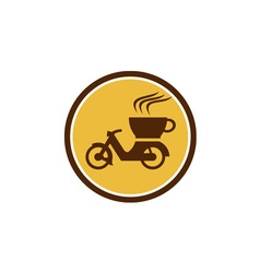 Coffee Delivery Motorcycle Circle Retro vector image