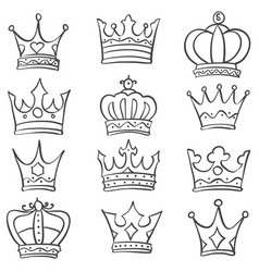 Collection stock various crown doodles vector
