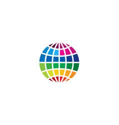 color globe logo icon design vector image