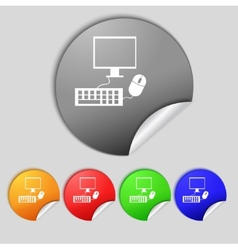 Computer widescreen monitor keyboard mouse sign vector image