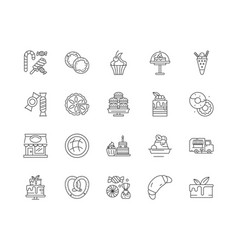 Confectionary products line icons signs vector