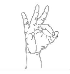 continuous line drawing of hand symbol okay vector image
