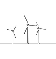 continuous line wind farm wind turbines vector image