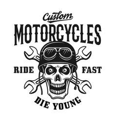 Custom motorcycles vintage emblem with skull vector
