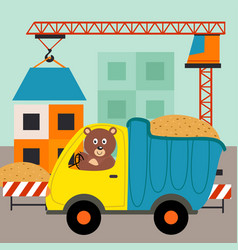 dump truck with bear driver vector image
