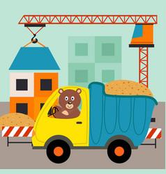 Dump truck with bear driver vector