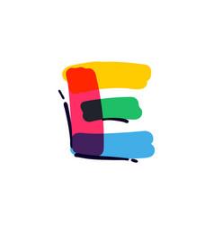 E letter logo handwritten with a multicolor vector