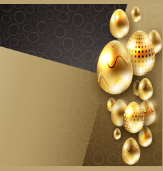 easter composition with a set of eggs of gold vector image