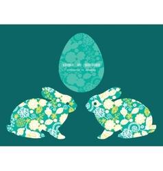 Emerald flowerals bunny rabbit silhouette vector