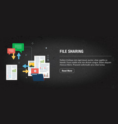 File sharing concept banner internet with icons vector