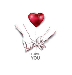 Finger holding hand hand drawn and red heart vector
