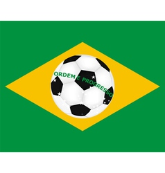 flag of Brazil with a picture of a soccer ball vector image