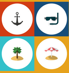 flat icon summer set of scuba diving coconut vector image