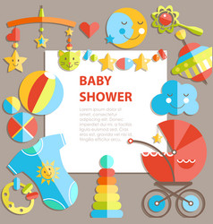 Flat infancy bacground baby products decoration vector