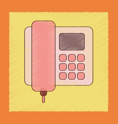 Flat shading style icon office phone vector
