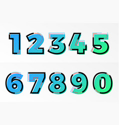 font numbers set numeral letters memphis gradient vector image