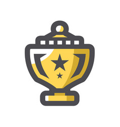 golden trophy cup icon cartoon vector image